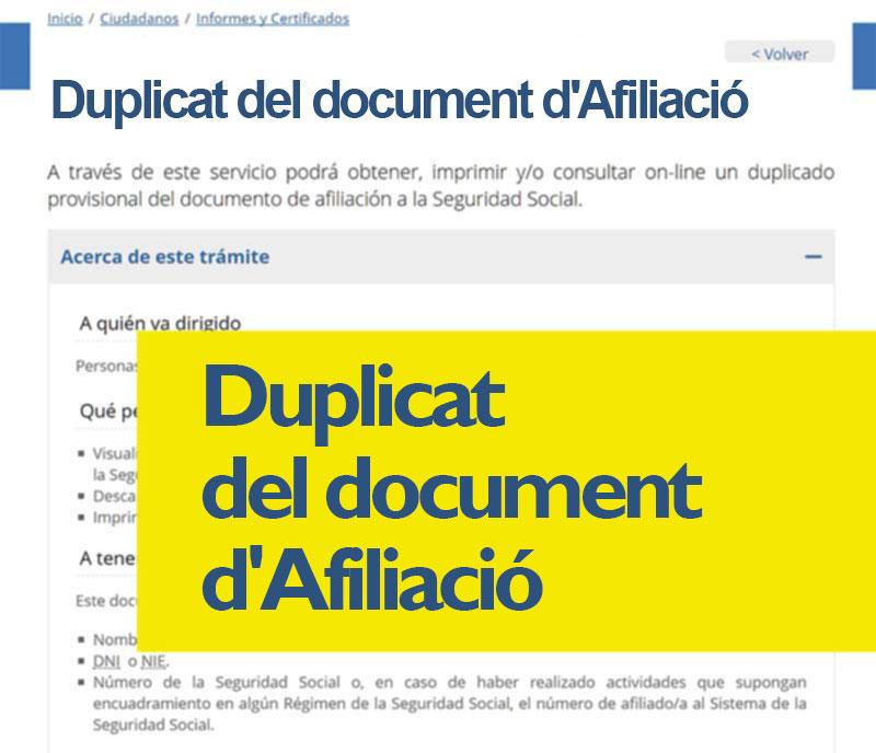 Duplicat del document d'Afiliació